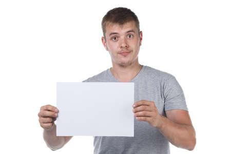 Photo of bristle man holding white paper sheet