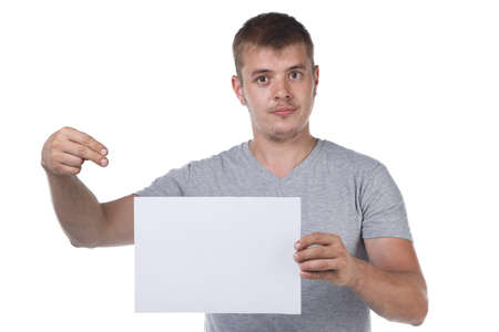 Image of bristle man holding white paper sheet Reklamní fotografie
