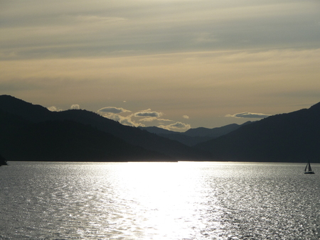 Sunset in the Marlborough Sounds, New Zealand