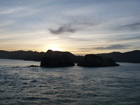 Sunset in the Cook Strait, New Zealand