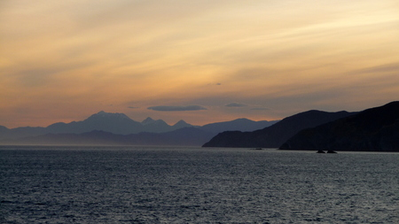 strait: Sunset in the Cook Strait, New Zealand