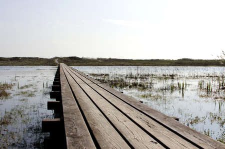esbjerg: way on the lake at the North Sea in Denmark