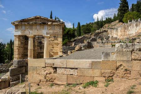delphi: The ancient Greek column in Delphi, Greece Stock Photo