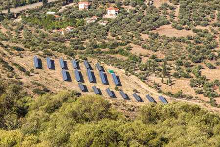 monocrystalline: Photovoltaic panels solar field on Greece.