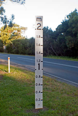 depth measurement: Flood Level sign on side of road, to assist drivers in case road floods, so that they know how deep the water is