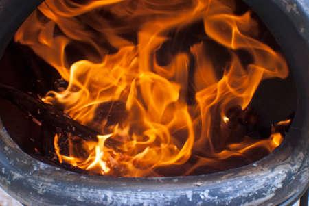 fire inside a chiminea