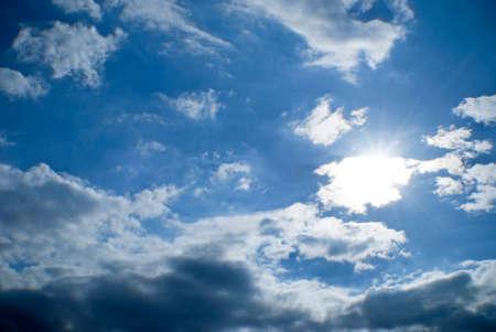 overcast: bright blue sky cloudy and overcast