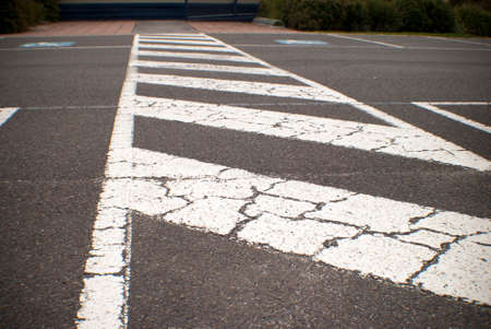 xwhite: painted white lines at a school carport for safe school crossing