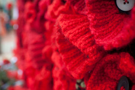 anzac: knitted poppies on Anzac day remembrance day