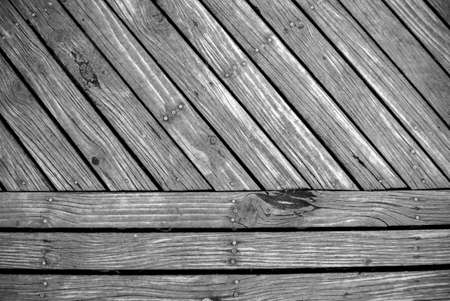 timbering: top view of pattern of timber boardwalk in black and white