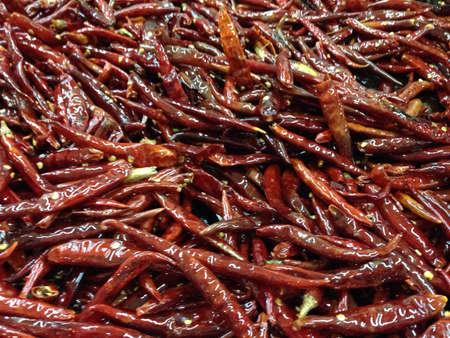 Dry chilli pepper prepared for Mexican salsa.
