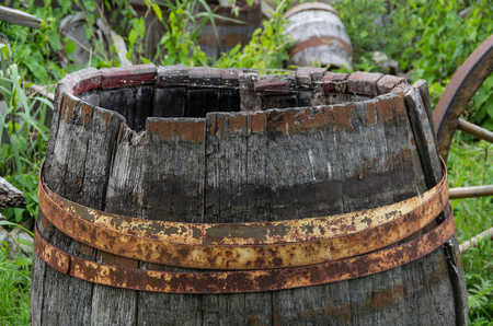 Old barrels in a museum Stock Photo