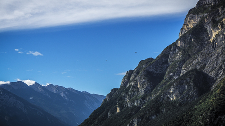 Flying birds in mountains at lake garda. A picturesque outlook