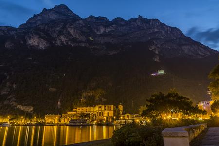 Riva del garda at night. Beautiful lights at lake garda