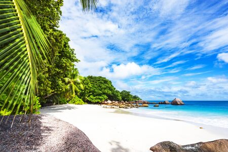 Turquoise water, granite rocks and palm trees in the white sand on the paradise beach at anse lazio on the seychelles Stock Photo