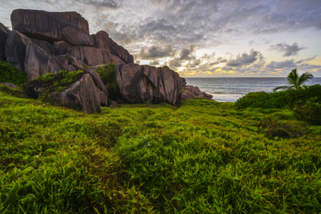 Lush green grass and red granite rocks in the sunrise on la digue on the seychelles. Stockfoto