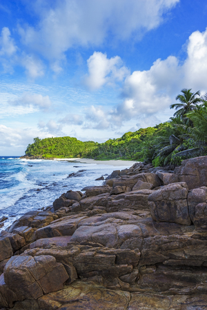 Big granite rocks, palm trees and blue water on a rough coast of the ocean, anse bazarca, seychelles