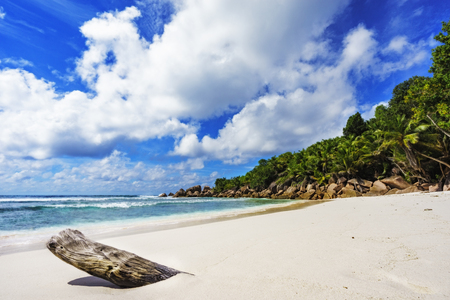 granite rocks, white sand, turquoise water, blue sky and palm trees on paradise beach on the seychelles, anse cocos, la digue Stock Photo