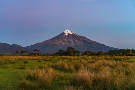 lush grass,trees and the cone volcano mount taranaki, new zealand Standard-Bild - 106723393