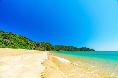 beautiful tropical paradise beach with turquoise water and white sand in abel tasman national park, new zealand Standard-Bild - 107866097