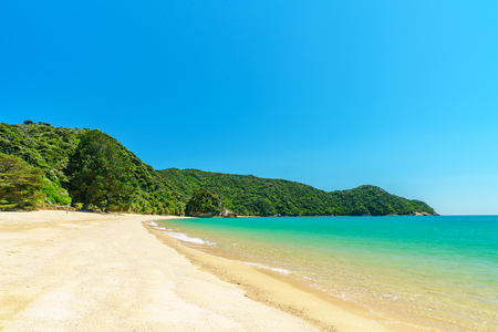 beautiful tropical paradise beach with turquoise water and white sand in abel tasman national park, new zealand Standard-Bild - 107866099