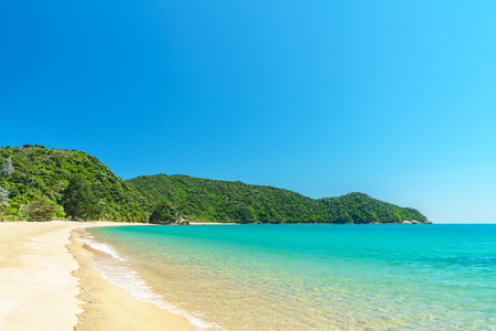 beautiful tropical paradise beach with turquoise water and white sand in abel tasman national park, new zealand Standard-Bild - 107866185