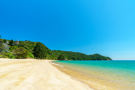 beautiful tropical paradise beach with turquoise water and white sand in abel tasman national park, new zealand Standard-Bild - 107866128