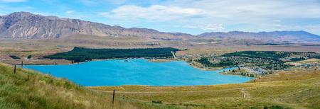 panorama view of lake tekapo in the mountains, canterbury, new zealand
