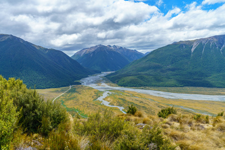 hiking in the mountains, the bealey spur track, arthurs pass, new zealand Stock Photo