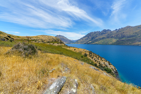 hiking jacks point track with view of lake wakatipu, queenstown, southern alps, otago, new zealand Imagens - 115688479