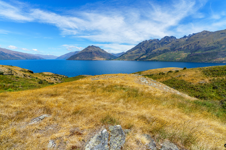 hiking jacks point track with view of lake wakatipu, queenstown, southern alps, otago, new zealand