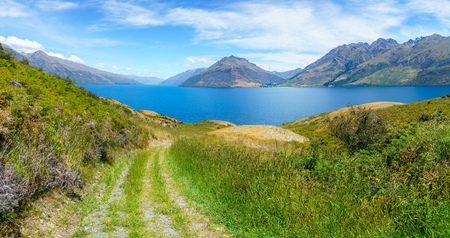 hiking jacks point track with view of lake wakatipu, queenstown, southern alps, otago, new zealand Imagens - 115688562
