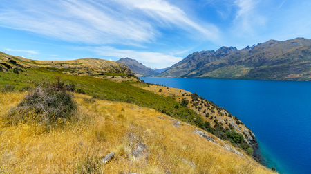 hiking jacks point track with view of lake wakatipu, queenstown, southern alps, otago, new zealand Imagens - 115688566