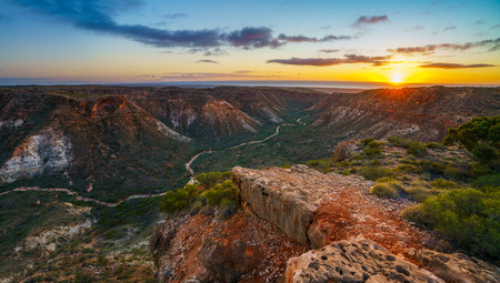 panorama view of sunrise over charles knife canyon near exmouth, western australia