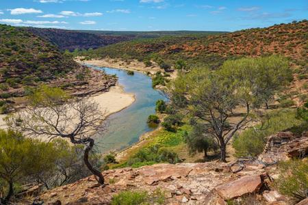 Hiking the canyon. natures window loop trail, kalbarri national park, western australia Stok Fotoğraf