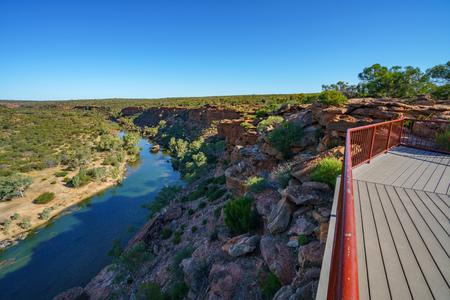murchison river from hawks head lookout in kalbarri national park on a sunny day, western australia