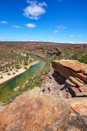 Hiking the canyon. natures window loop trail, kalbarri national park, western australia Stock Photo