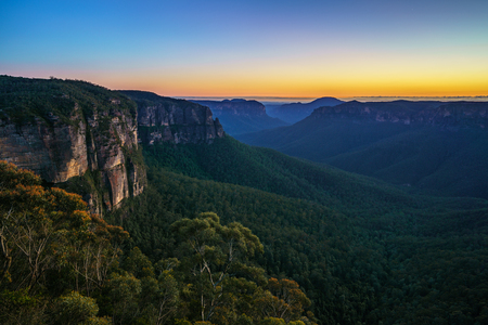 blue hour at govetts leap lookout, blue mountains national park, australia