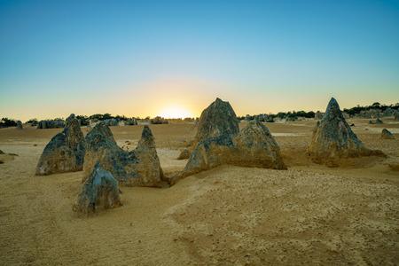 sunset over pinnacles desert at nambung national park, western australia