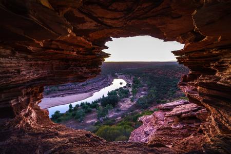 before sunrise at natures window in the desert of kalbarri national park, western australia