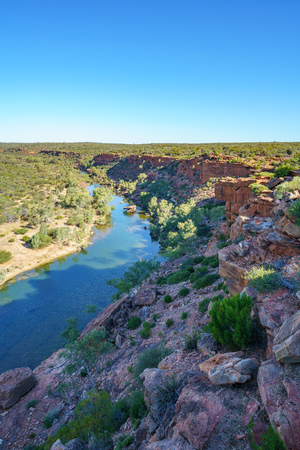 murchison river from hawks head lookout in kalbarri national park on a sunny day, western australia Stockfoto - 122047132
