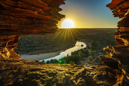 sunrise at natures window in the desert of kalbarri national park, western australia 스톡 콘텐츠