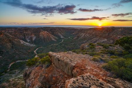beautiful sunrise over charles knife canyon near exmouth, western australia