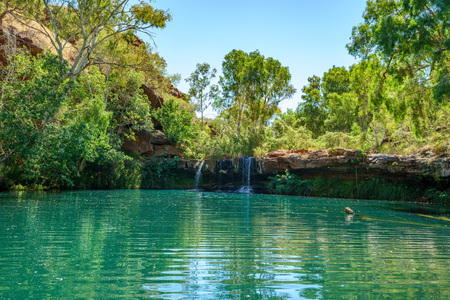 hiking to fern pool in dales gorge, karijini national park, western australia 스톡 콘텐츠