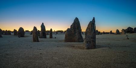 pinnacles desert at nambung nationalpark after sunset, western australia