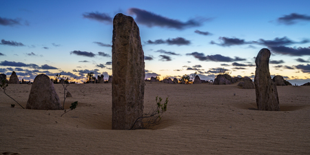 pinnacles desert at nambung nationalpark after sunset, western australia