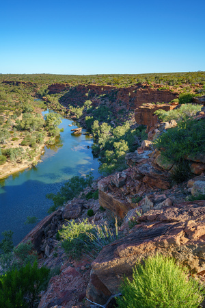 murchison river from hawks head lookout in kalbarri national park on a sunny day, western australia