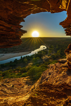 sunrise at natures window in the desert of kalbarri national park, western australia