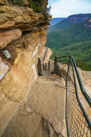 hiking the national pass walking track in the blue mountains national park, new south wales, australia