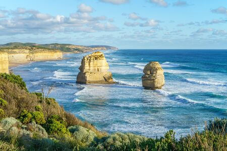 sunset at gibson steps, twelve apostles marine national park at great ocean road at port campbell, victoria, australia